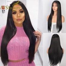 AISI BEAUTY 26 pulgadas largo recto negro encaje peluca frontal pelucas sintéticas para mujeres con pelo de bebé rosa de alta resistencia de fibra