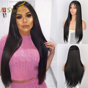 Image 1 - AISI BEAUTY Long Straight Black Lace Front Wig With Baby Hair Pink Synthetic Lace Wigs for Women High Resistant Fiber