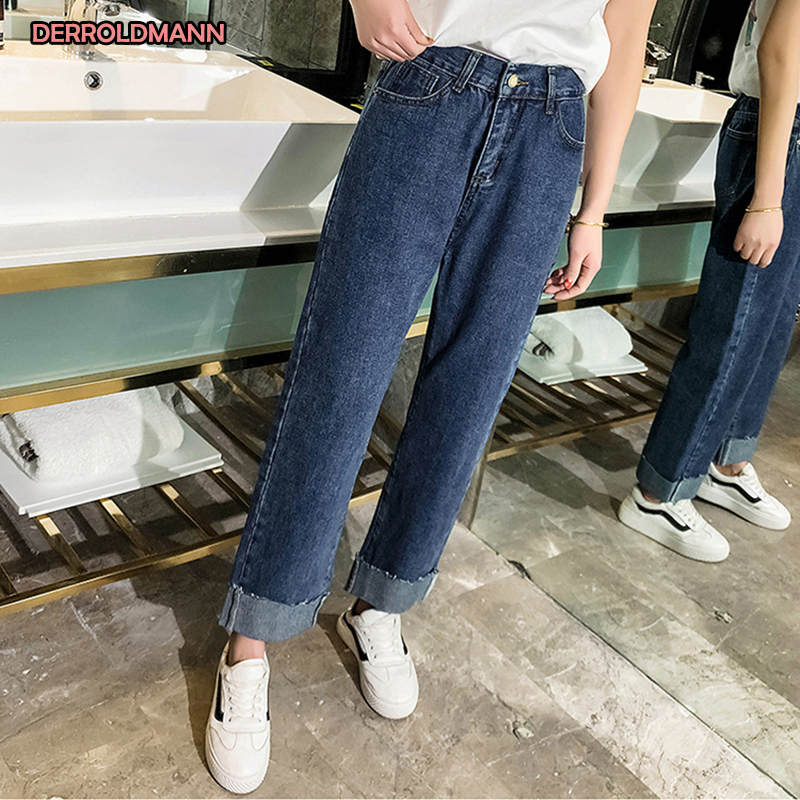 Women Jeans High Waist Straight Pants Washed Denim Cuffs Stretch Jeans Large Size Korean Pants Women
