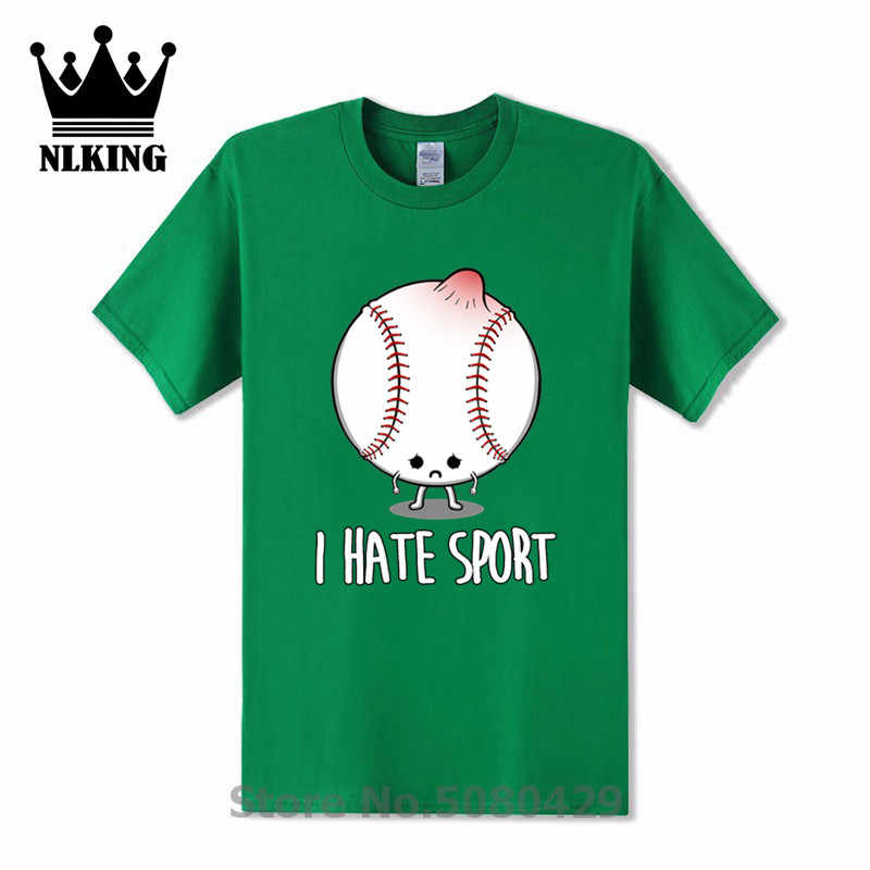 Tees Hipster Streetwear Sport T-Shirt Zomer IK haat sport baseball shirt mannen Korte Mouw 100% Katoen o-hals motor Tops Humor