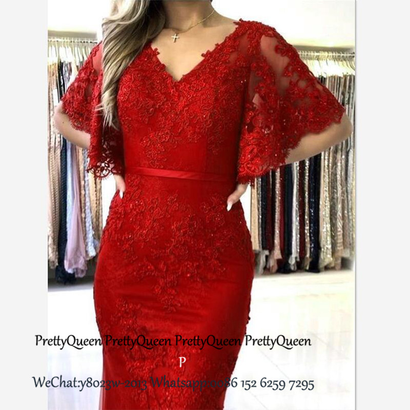 Red Lace Mermaid Bridesmaid Dresses With 1/2 Long Sleeves V Neck Vestido Madrinha Long Wedding Guest Dress Party For Women