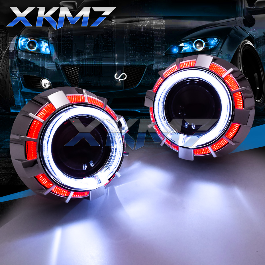 Double LED Halo Angel Eyes Demon HID Bixenon Projectors Lens Headlight H1 H4 H7 Running Lights 2.5'' Car Accessories Tuning Kit