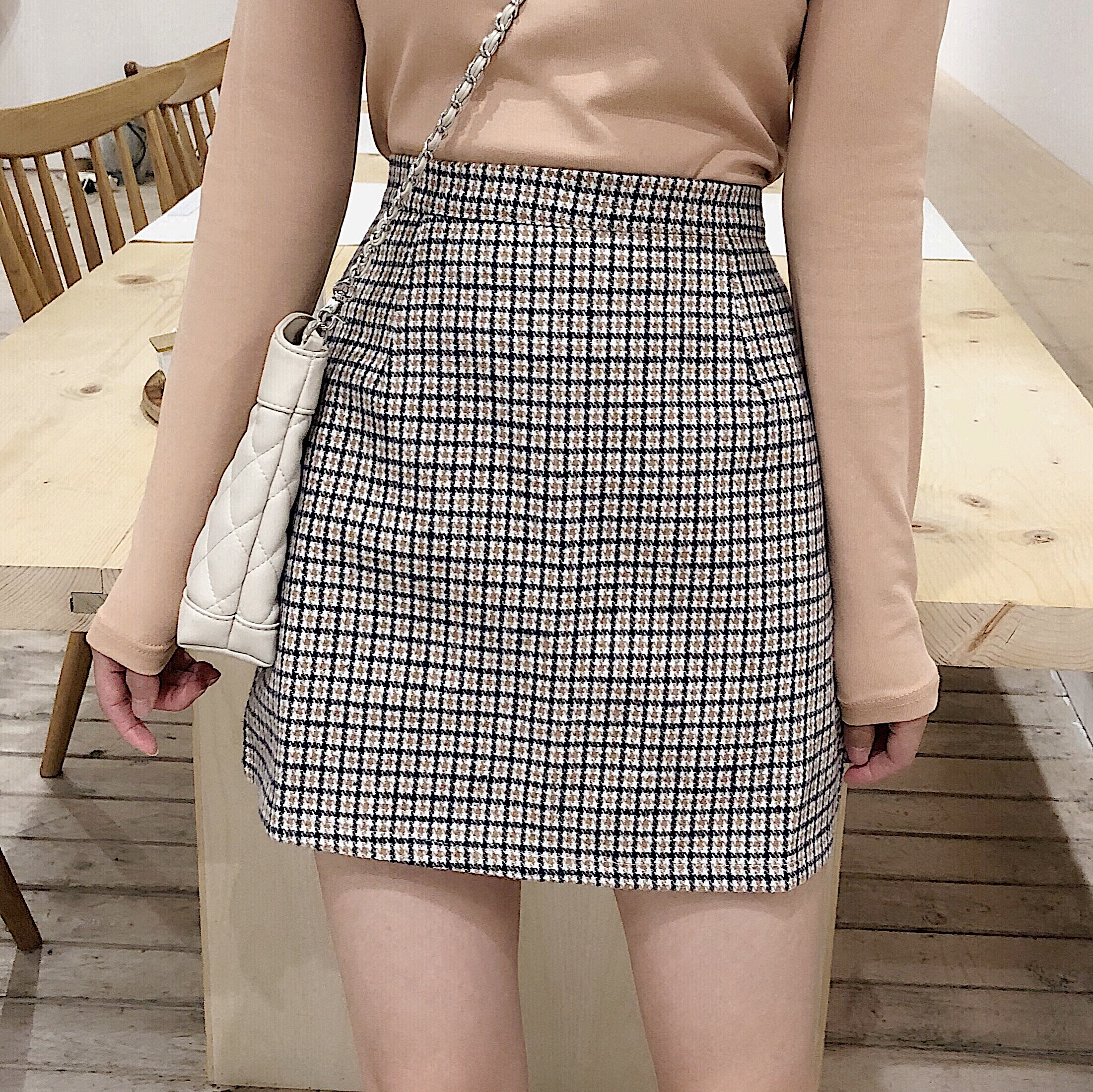 Vintage Plaid Skirts Women Houndstooth Autumn Short Skirts Mini Korean Harajuku Pencil Skirts Sexy Office Casual High Waist V680