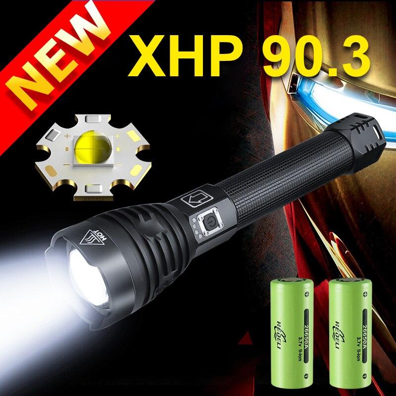 Haute puissance XHP90.3 lampe de poche LED torche puissante USB Rechargeable lampe de poche tactique télescopique Zoom Flash lumière XHP90.2 torche
