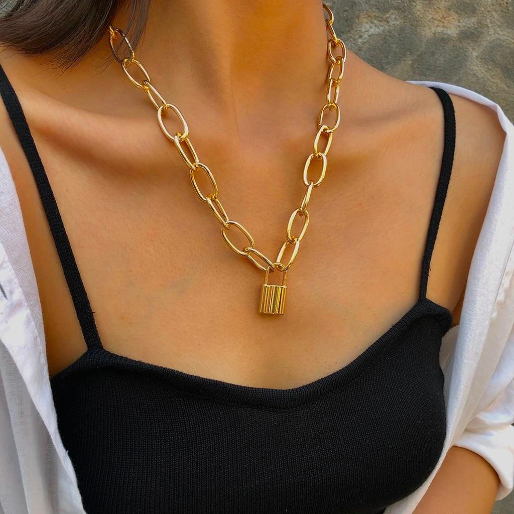Fashion Vintage Metallic Golden Large Chain Lock Necklace Women's Jewelry  Gift Choker Pendant Necklace for Women Gifts|Pendant Necklaces| - AliExpress