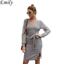 Vintage Autumn Winter Knitted Dress Women Sexy Double V Neck Bodycon Party Dress Long Sleeve Lace-up Warm Sweater Dress Vestido