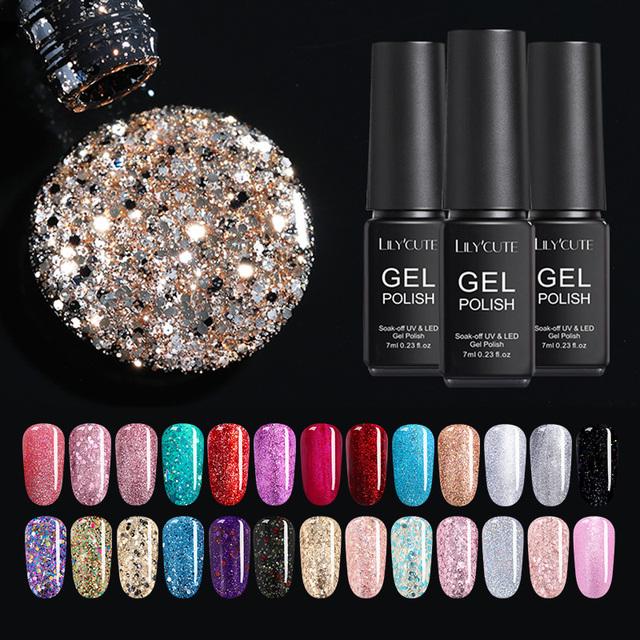 LILYCUTE 7ml Nail Glitter Sequins Gel