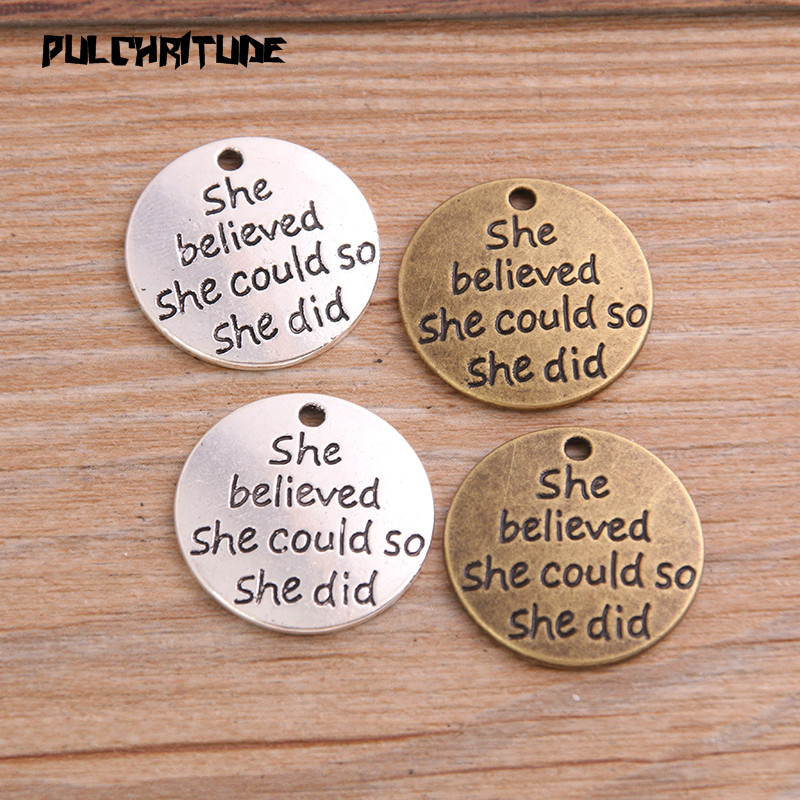 8pcs 23mm Two Color Metal Zinc Alloy Round Letter Charms Fit Jewelry Medical Plant Pendant Makings