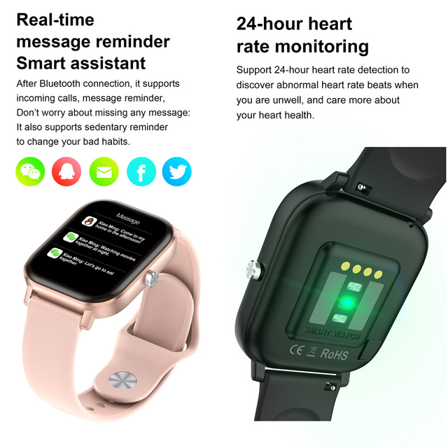 2020 HD 1.75 Inch Smartwatch Men full touch Multi-Sport Mode VS P8 Smart Watch Women Heart Rate Monitor For iOS Android 5