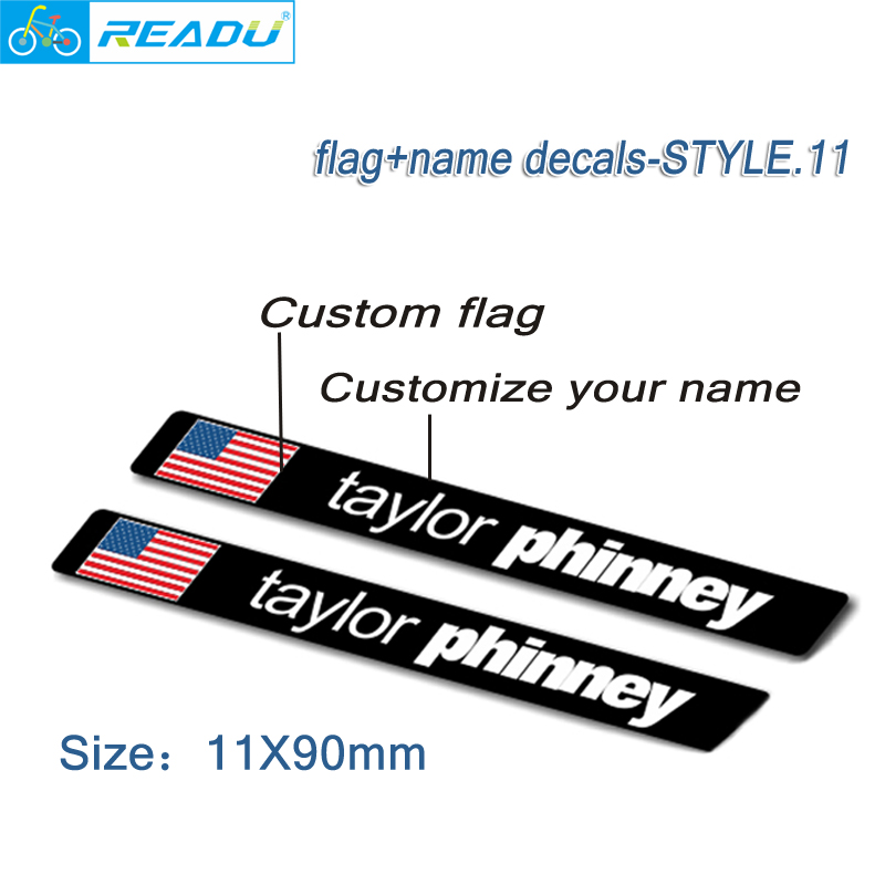 Road Bike Frame Flag Name Stickers Custom Rider Id Decals Bicycle MTB Stickers Custom Flag, Custom Name Style 11