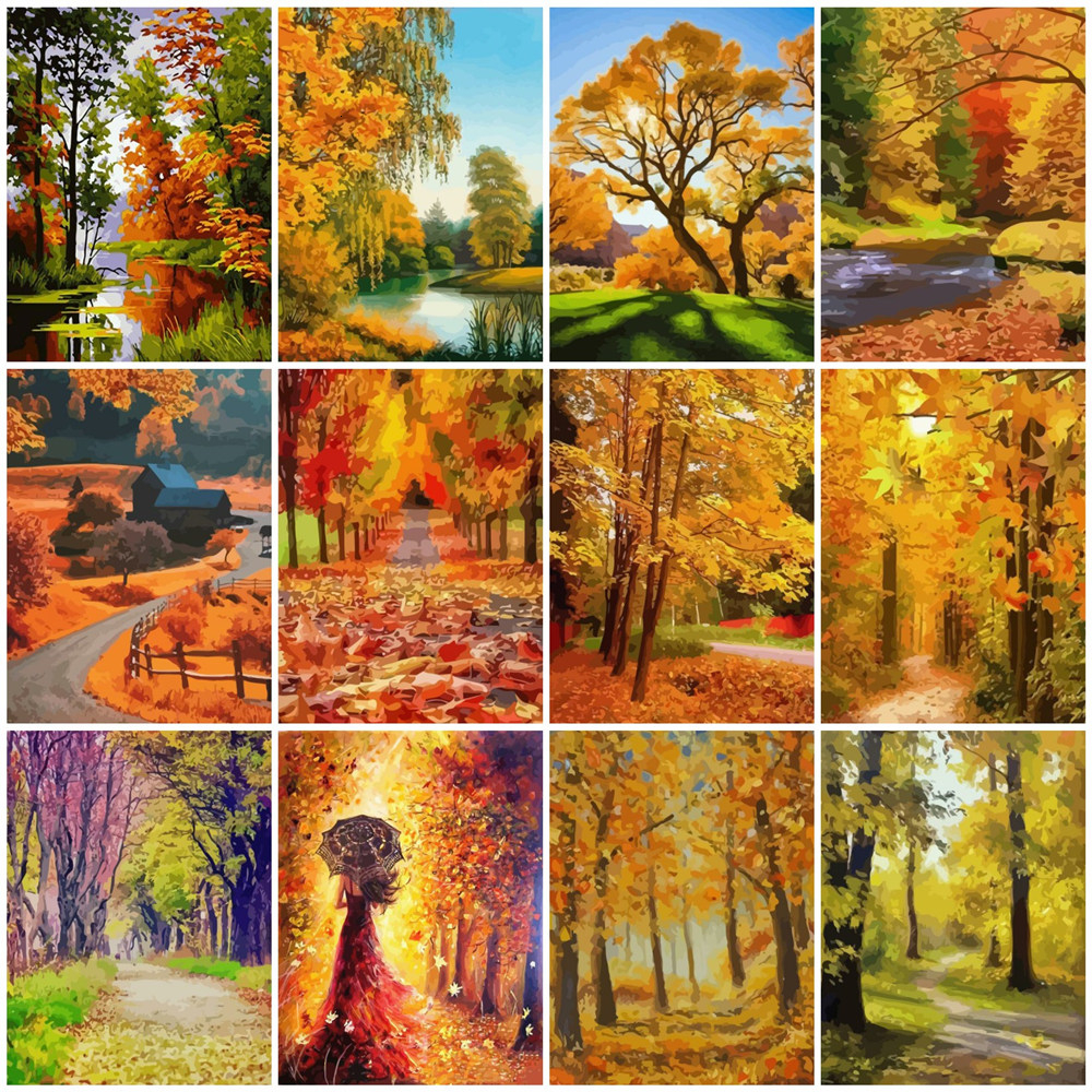 HUACAN Oil Painting By Number Autumn Landscape HandPainted Kits Drawing Canvas Coloring Pictures Paint Home Decoration