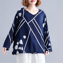 2019 Fashion Women Blouses And Tops V Neck Long Sleeve Autumn Cotton Linen Casual Polka Dot Loose Vintage Ladies Shirts Blusas(China)
