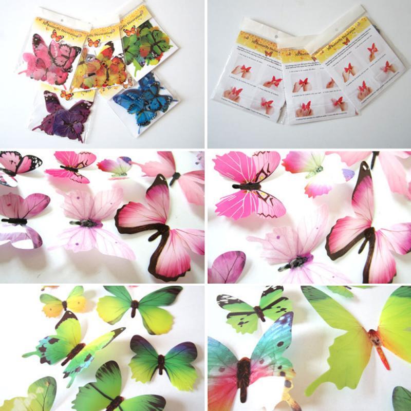 2020 DIY 12Pcs/Set 3D Butterfly Wall Decor Cute Butterflies Wall Sticker For Kids Art Decals Bedroom Living Room Home Decoration