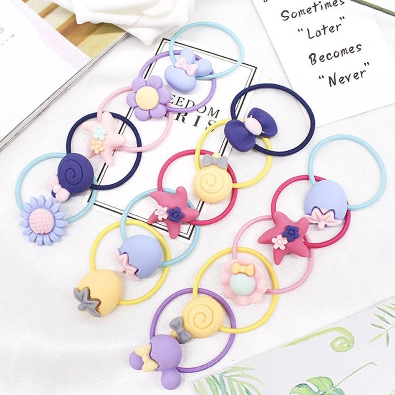 5piece/Lot New Fashion Elastic Rubber Hair Bands Girls Flower Star Fruits Ponytail Holders Headband Cartoon Elastic Hair Rings