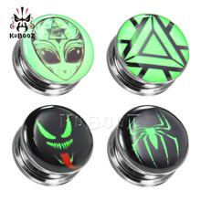Skull Spider Logo Green Earrings Expanders Strethers Fashion Monster Ear Stud Multi Style For Choose 6mm to 30mm Beauty Gift цена