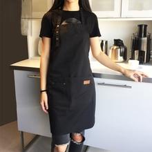 Модный брезентовый хлопковый фартук для кофейни и парикмахерской, Рабочий Фартук, нагрудник для приготовления пищи, кухонные женские фартуки, Мужской фартук с логотипом на заказ