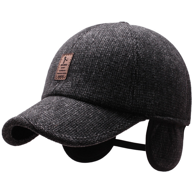 2020 New Winter Baseball Cap for Men with Earflaps Warm Dad Hat Thickened Cotton Snapback Caps Ear Protection Father's Hats