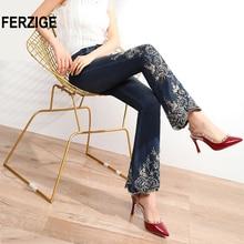 FERZIGE Jeans Women High Waist Stretch Dark Blue Flared Pant