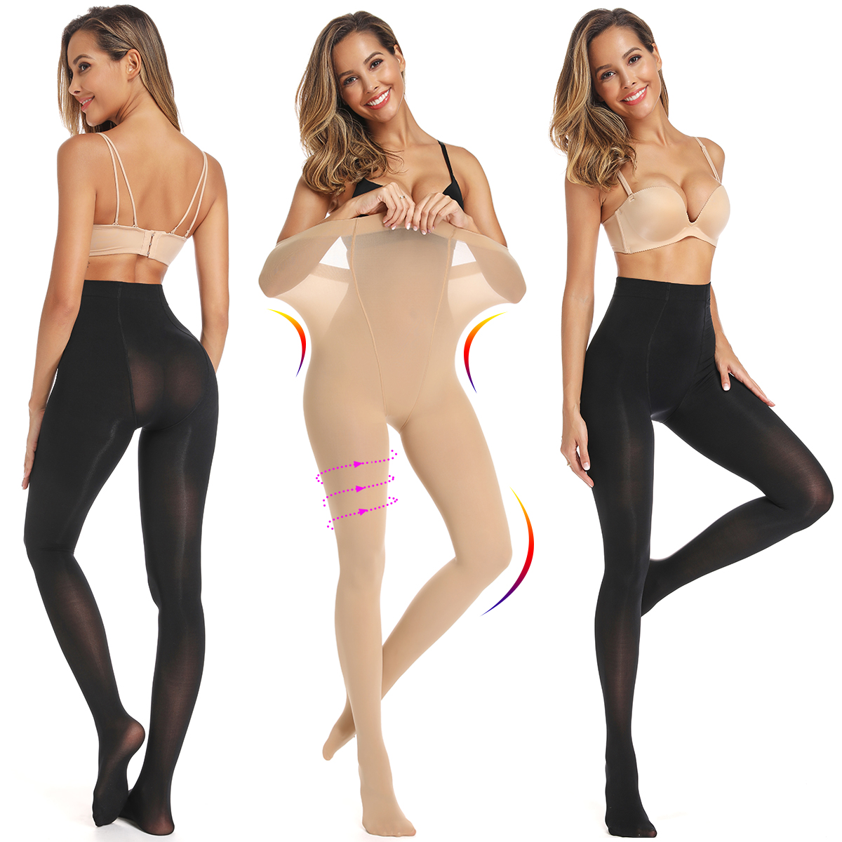 Women Stockings Sexy Pantyhose Lingerie Tummy Control Shaper Elastic Over Knee Slim Female Hosiery Opaque Footed Tights чулки
