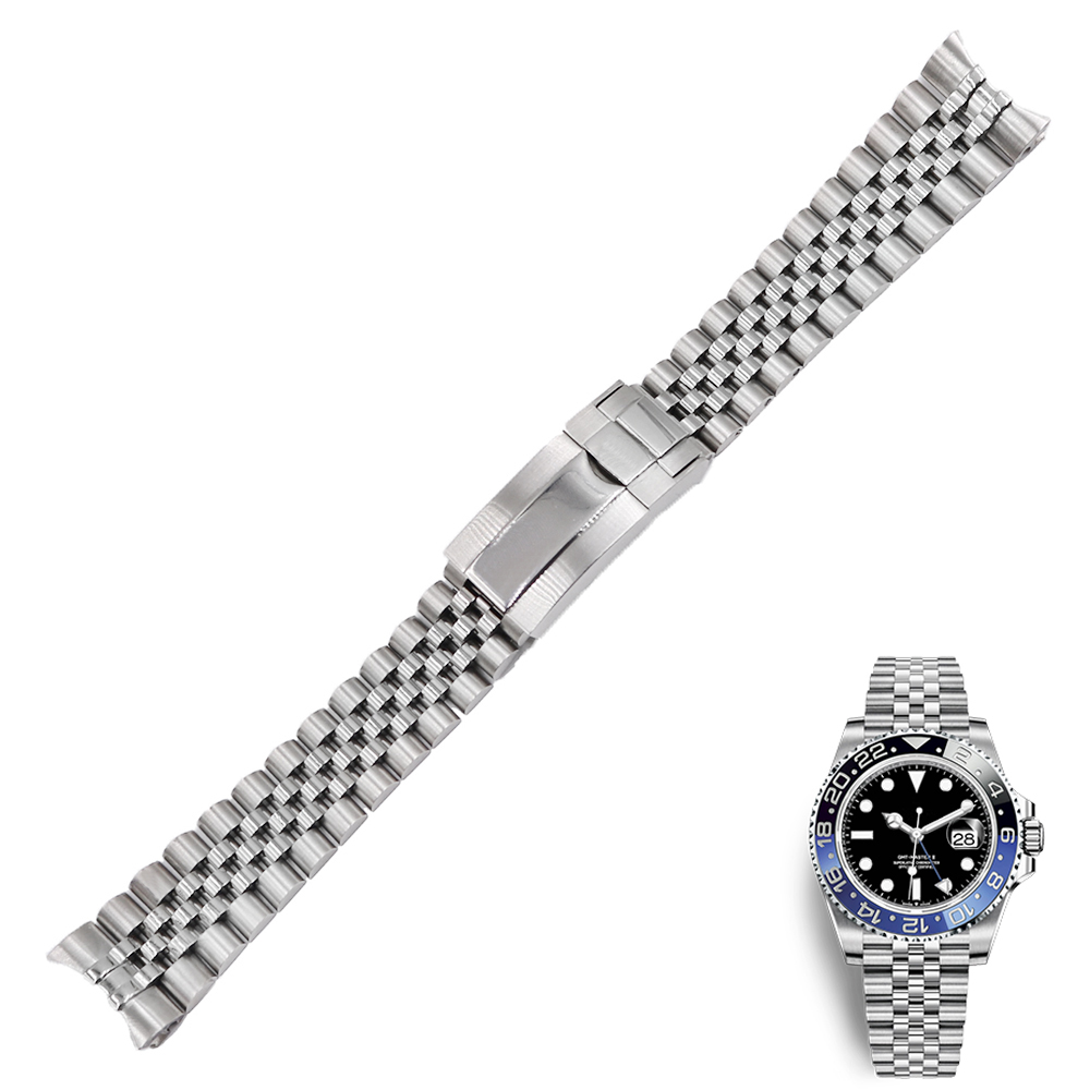 20 21mm Stainless Steel Replacement Wrist Watchband Strap Bracelet Jubilee With Oyster Clasp For Rolex GMT Master II DATE JUST