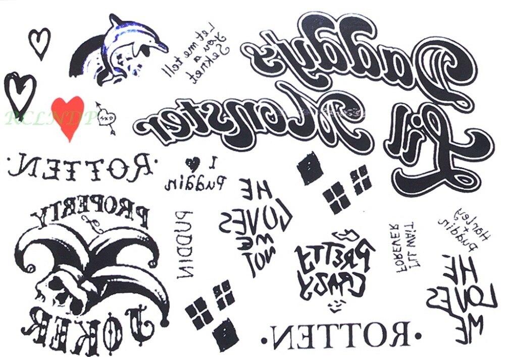 Waterproof Temporary Tattoo Sticker Suicide Squad Harley Quinn Joker Clown Dolphin Heart Tatto Flash Tatoo Fake Tattoo For Men 7
