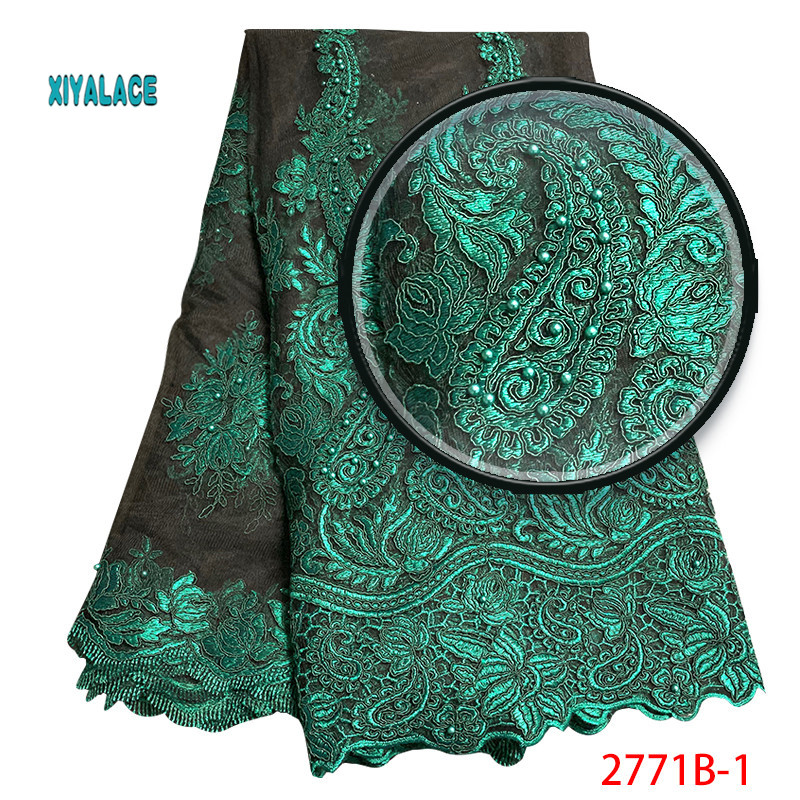 Nigerian 2019 Embroidered Net Laces Fabric African Lace Fabric Beads Lace Fabric  Bridal High Quality French Tulle YA2771B-1