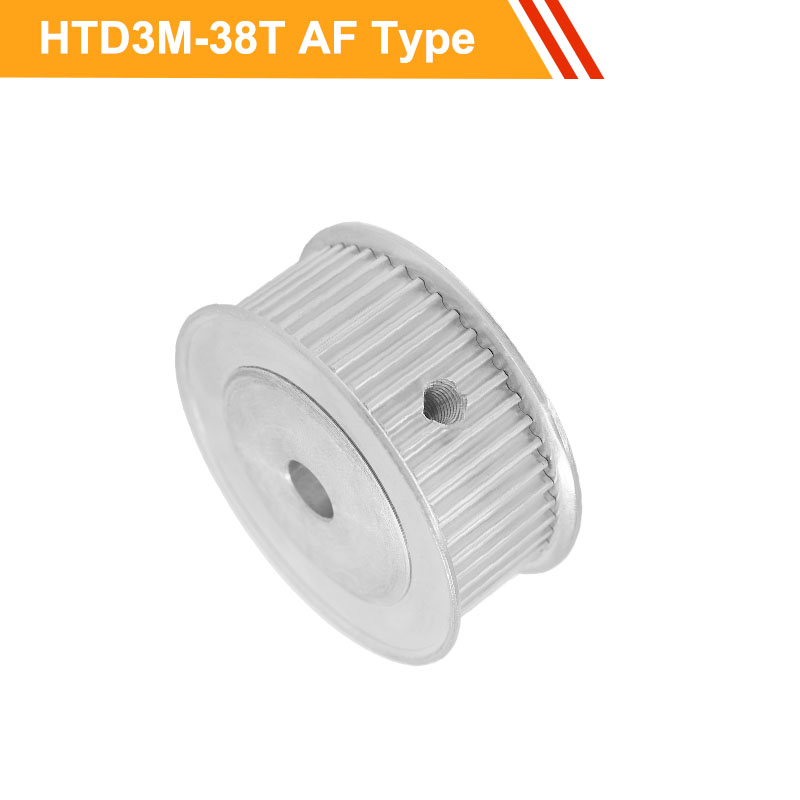 3M 38T Aluminium Pulley Wheel HTD3M Type Timing Belt Pulley 11mm/16mm Belt Width 6/6.35/8/10/12/14mm Bore Gear Pulley
