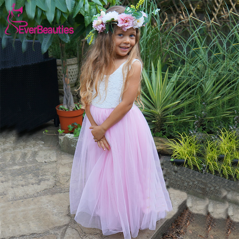 Communion Dresses Flower Girl Dresses 2020 Tulle Appliques V-Neck Ball Gown Party Dress Vestidos De Comunion