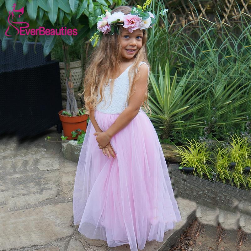 Communion Dresses Flower Girl Dresses 2020 Tulle Appliques V-Neck Ball Gown Party Dress Vestidos De Comunion