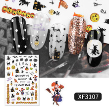 2019 New nail decals Halloween Series Spider Web Black Cat Bat Pumpkin Witch candy self-Adhesive Decals DIY Nail Art Stickers
