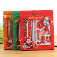 1 Set de papelería de navidad regalo de Navidad estudiantes pluma, lápiz, borrador, regla, sacapuntas papelería de oficina útiles escolares