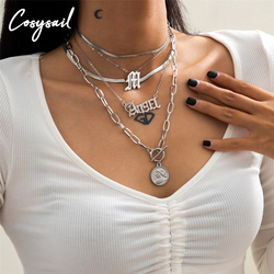 Cosysail 5Pcs/set Multilayer Angel Letter Layered Necklace for Women Portrait Pendant Snake Chain Necklaces Statement Jewelry