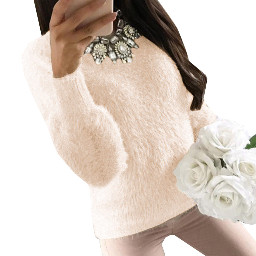 2019 Women Autumn Winter Fluffy Sweater Hairy Thick Warm Long Sleeve Pullover O Neck Solid Top