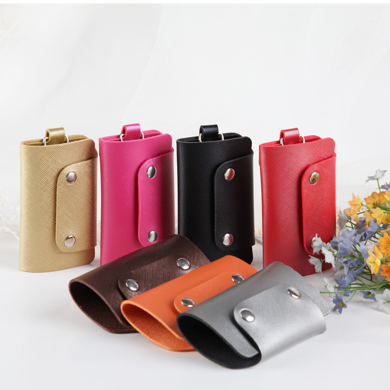 1 PC Solid Color Portable Pu Leather Housekeeper Holders Keychain Key Holder Bag Case Unisex Wallet Cover Simple Storage Bag