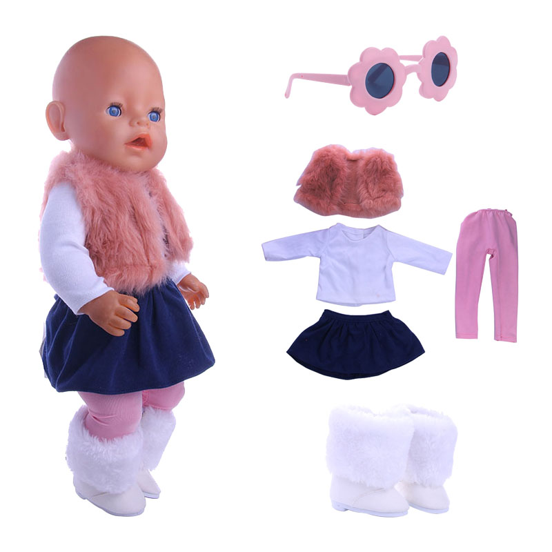 Doll Clothes Knit Shirt 4pcs / Style Suitable  For 18 Inch American&43Cm Baby New Born Doll Clothes Accessories Girl`s  Toy
