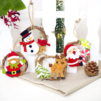 1Pcs 8*8cm Santa Deer Felt Rattan Circle Christmas tree Pendant Hanging Ornament New Year Xmas Party Decoration Supplies image