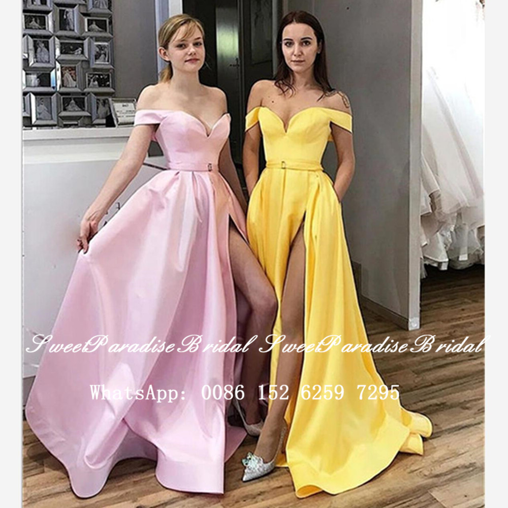 Sexy Side Split Bridesmaid Dresses 2020 Yellow Satin Off Shoulder Women Long A Line Wedding Party Dress Vestidos Fiesta Boda