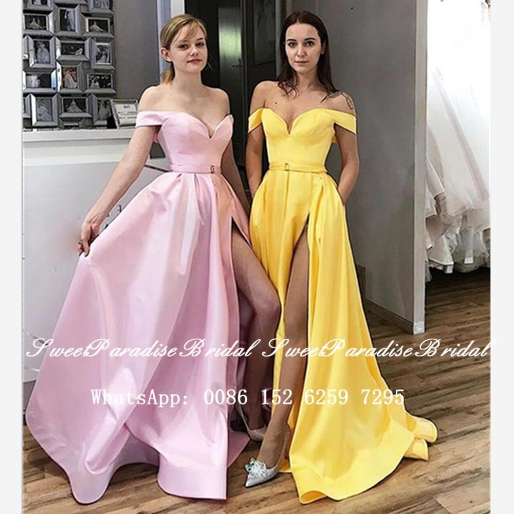 Sexy Side Split Bridesmaid Dresses 2020 Yellow Satin Off Shoulder Women Long A Line Wedding Party Dress Vestidos Fiesta Boda