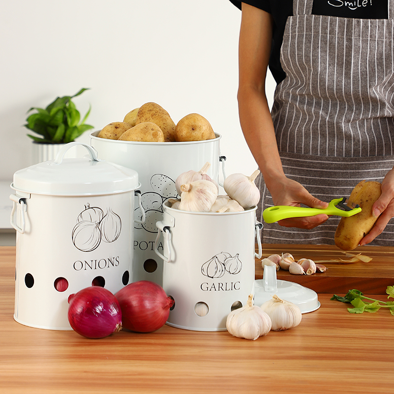 Breathable Kitchen Container Set and Food Storage Bins with 2 Handles for Storing Potatoes and Onions 2