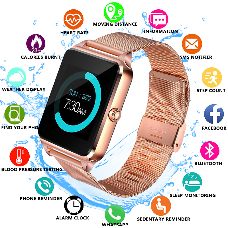 2019 New Smart Watch Men Women Digital Electronic Watch Stainless Steel Sport Waterproof Watch Support SIM TF For Android Phones