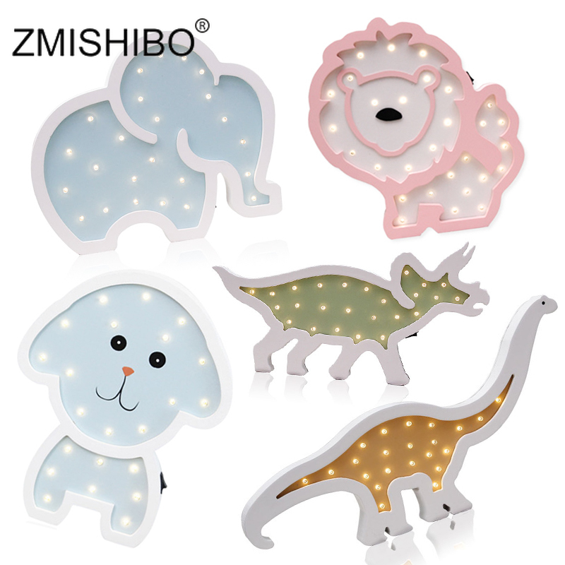 ZMISHIBO Animal Night Lights Cute Rhinoceros Dinosaur Unicorn Elephant Wooden Wall Lamp Fixture Kids Bedroom Decor Boy Toy Gift