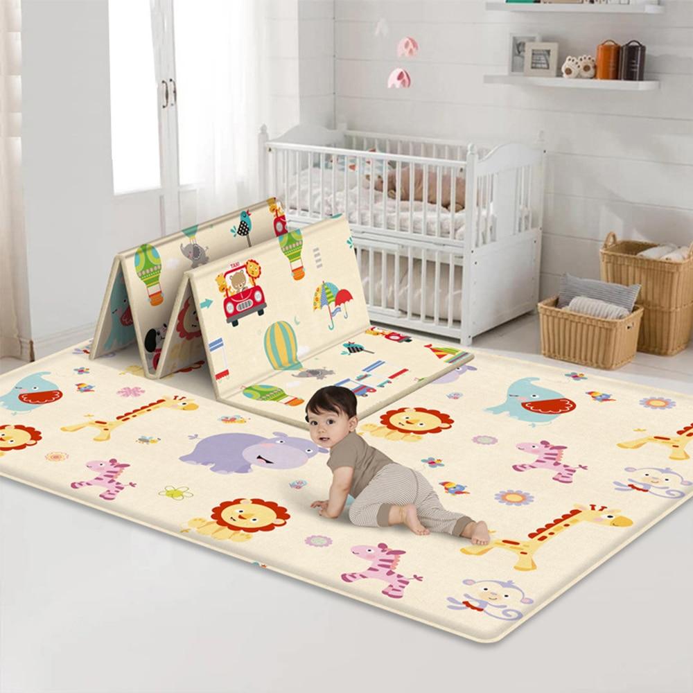 180CM Children's Folding Mat Soft Foam Nursery Carpet Crawling Mats Large Foldable Carpet Puzzle Baby Gaming Mat For Kids