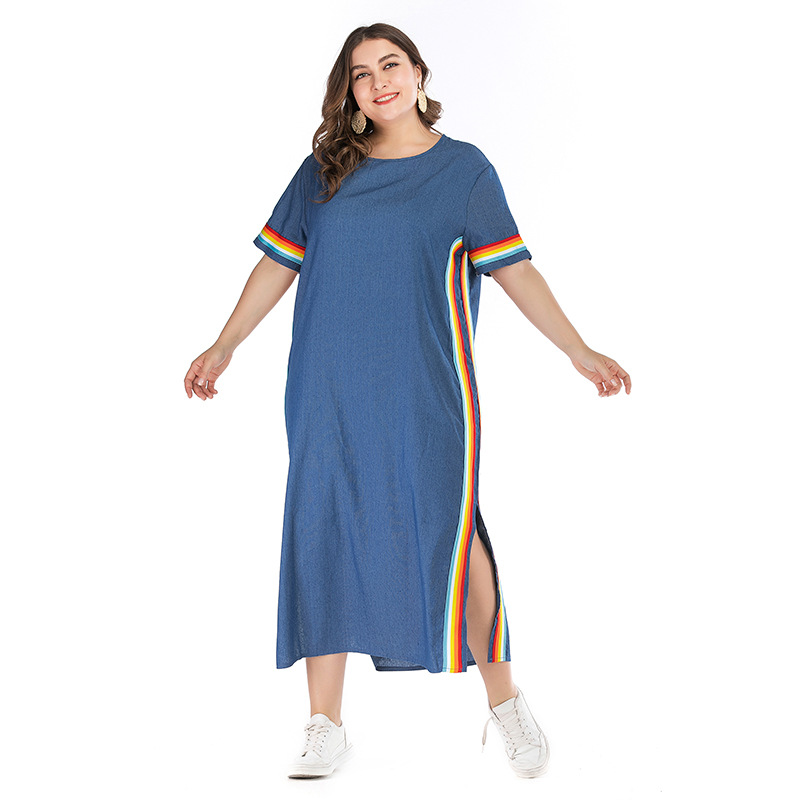 Cross Border Large Size Dress Summer New Style Loose Blue Denim Long Skirts Fashion Elegant Contrast Color Slit Dress