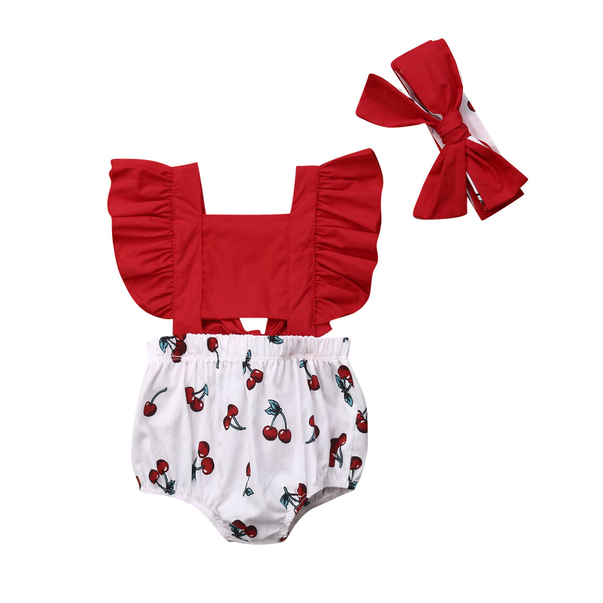 Emmababy Baby Clothes 2Pcs Newborn Infant Baby Girl Ruffle Cherry Sleeveless Bodysuit Sun Outfit Summer