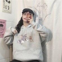 Milinsus 2019 Autumn Winter  Female Hoodies Pullovers Sweatshirt Cartoon Mouse Printed Women Kawalii Oversized O-neck Hoodie