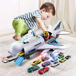 Toy Aircraft Airliner-Toy Car Simulation-Track Passenger Plane Kids Music-Story Children's