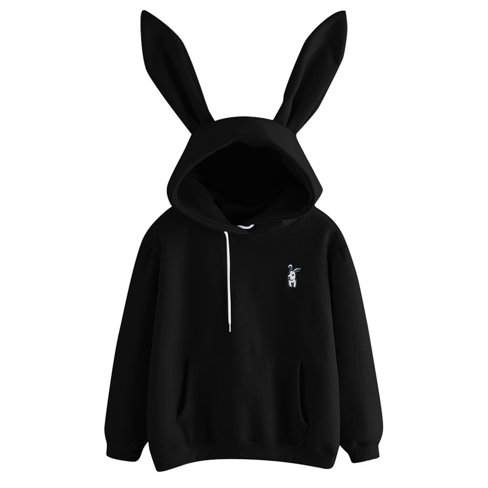 Women Hoodies Solid Color Hooded With Rabbit Ear Basic Sweatshirt Lady 2019 Autumn Winter Pullover Casual Drawstring Hoodie D35