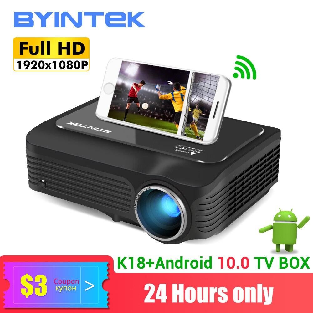 Projetor completo de byintek k18 hd 4k (caixa opcional da tevê de android 10.0), mini projetor do diodo emissor de luz 1920x1080p para o cinema de smartphone 3d 4k