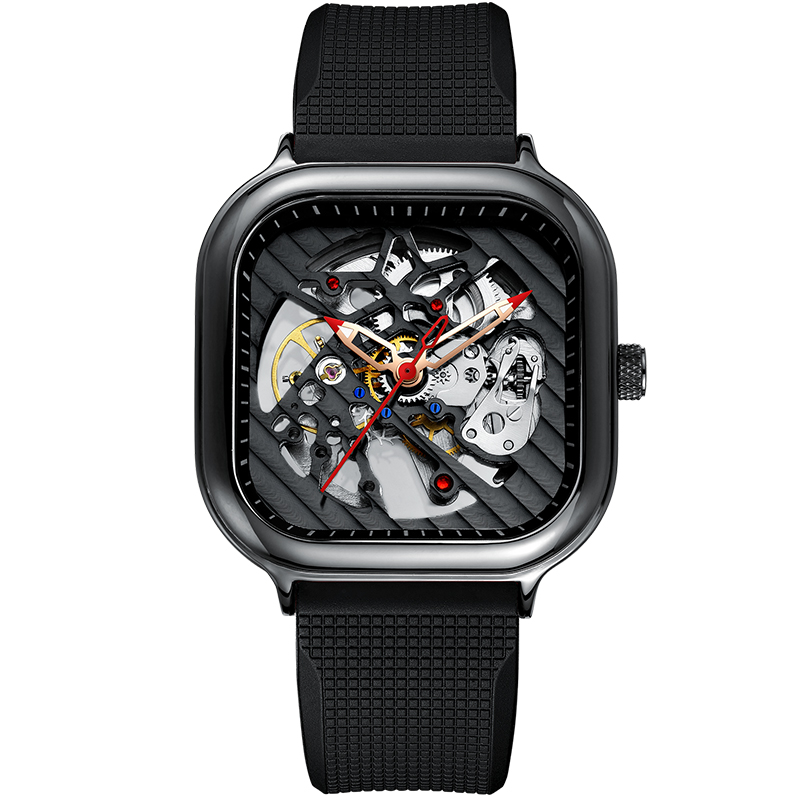2020 new men's automatic watch top brand luxury silicone strap hollow Swiss square top ten watches 13