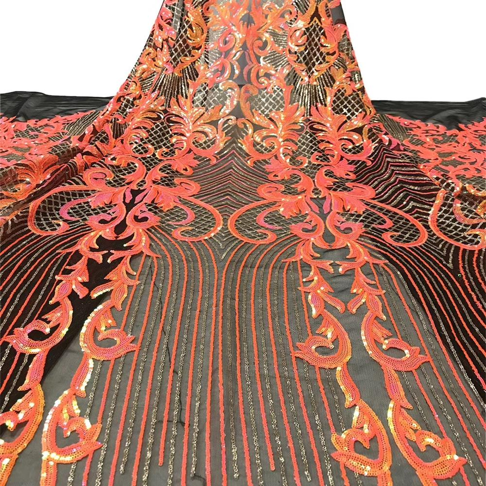 Luxury african sequin lace fabric burnt orange french lace fabric high quality tulle net lace fabric for wedding dresses 5 yards